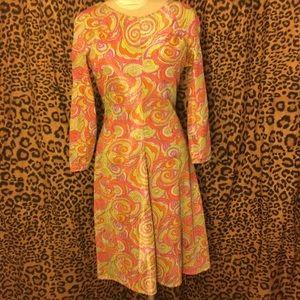 Metallic psychedelic swirl dress.
